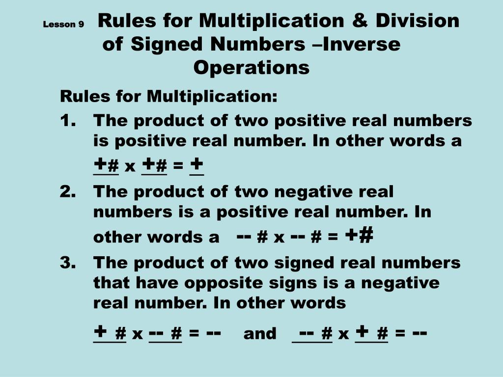lesson 9 rules for multiplication division of signed numbers inverse operations l.
