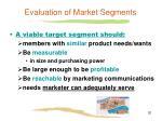 evaluation of market segments