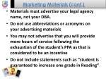 marketing materials cont