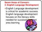 seven areas of concern 4 english language development
