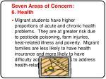 seven areas of concern 6 health