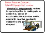 seven areas of concern school engagement continued