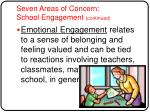 seven areas of concern school engagement continued8