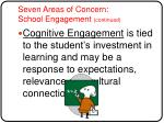 seven areas of concern school engagement continued9