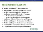 risk reduction actions51