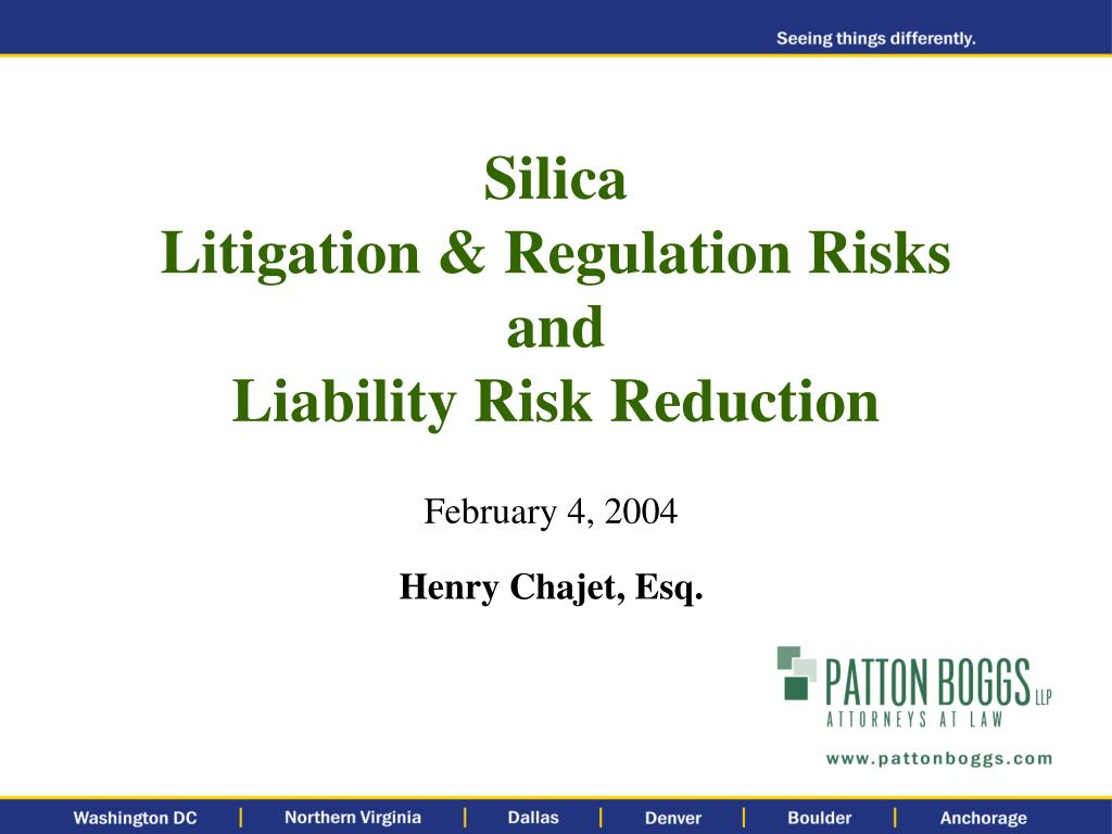 silica litigation regulation risks and liability risk reduction l.