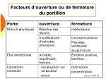 facteurs d ouverture ou de fermeture du portillon