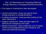 task vi mechanism for promoting dsm and energy efficiency in changing electricity business