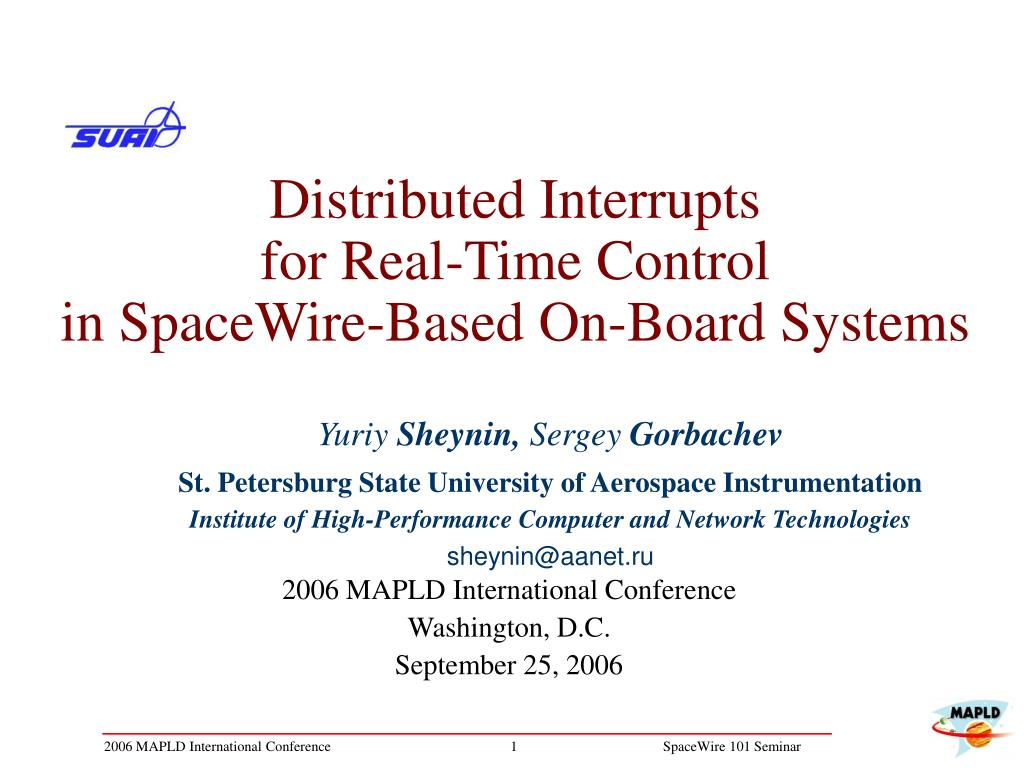 distributed interrupts for real time control in spacewire based on board systems l.