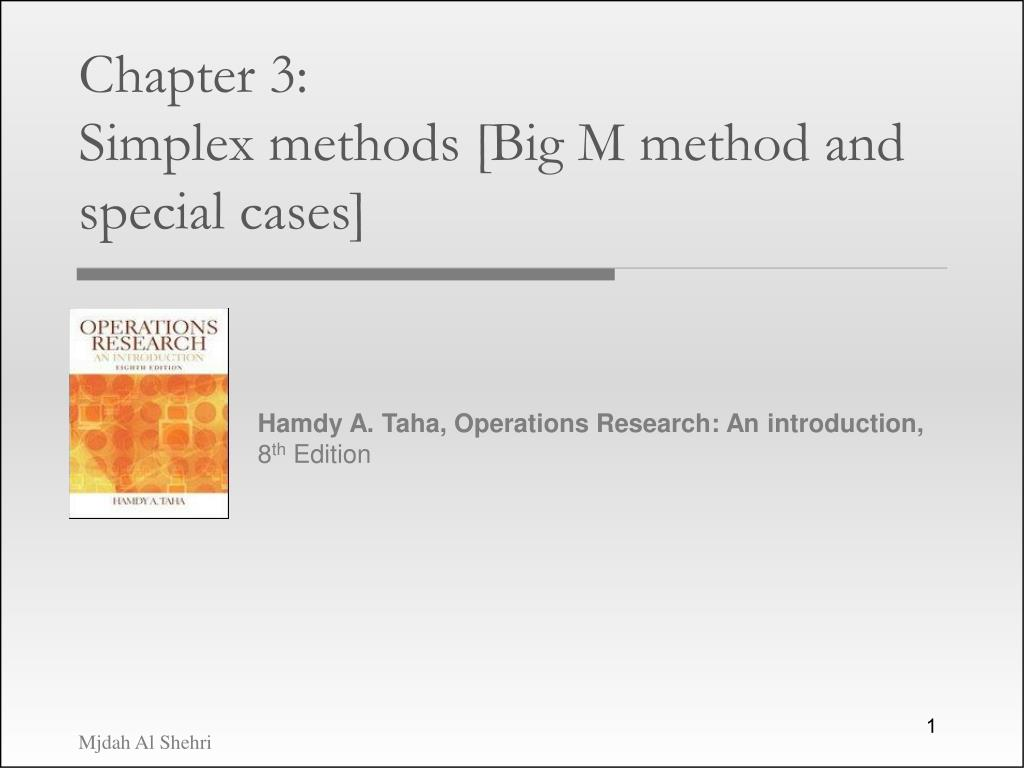 chapter 3 simplex methods big m method and special cases l.