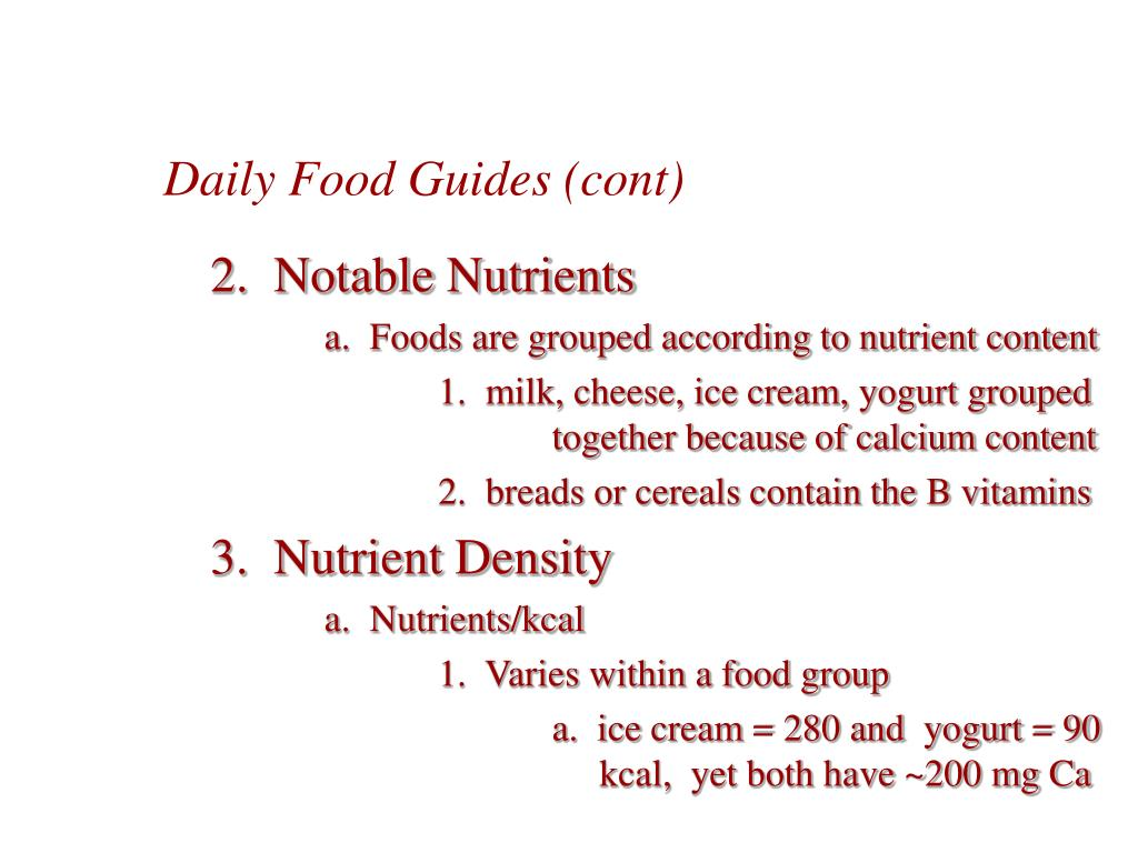 Daily Food Guides (cont)