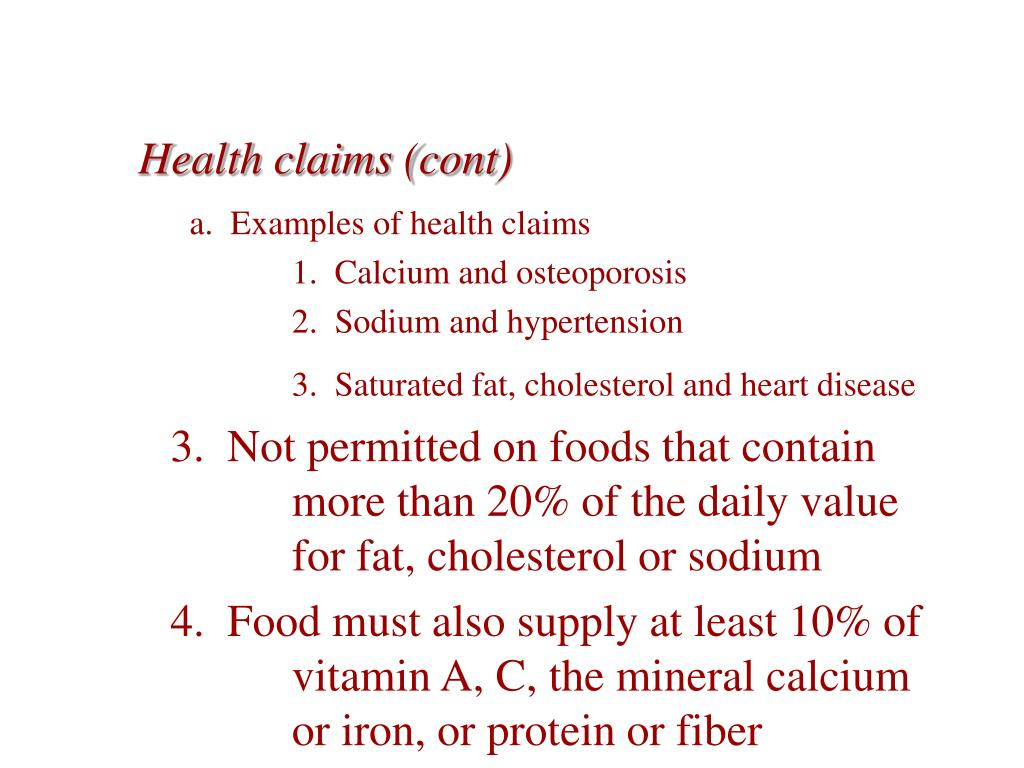 Health claims (cont)
