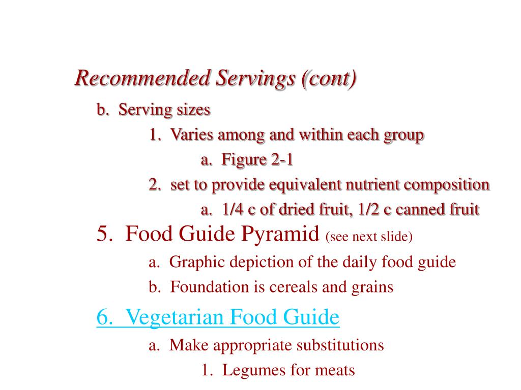 Recommended Servings (cont)