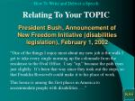 president bush announcement of new freedom initiative disabilities legislation february 1 2002