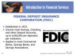 slide 3 fdic lesson reference introduction to financial services activity 1 overhead 2