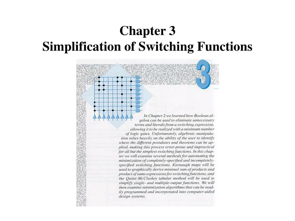 chapter 3 simplification of switching functions l.