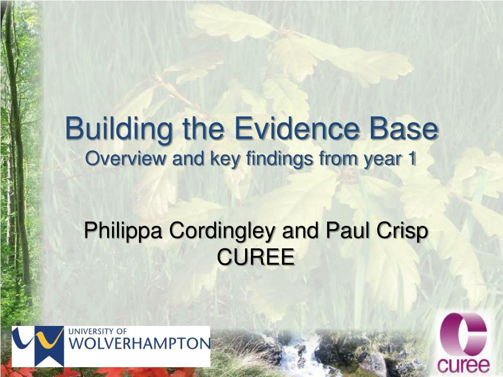 building the evidence base overview and key findings from year 1 l.