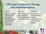 cpd and curriculum design and implementation