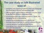 the case study on talk illustrated ways of