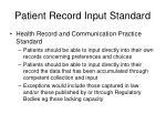 patient record input standard