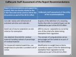 calrecycle staff assessment of the report recommendations