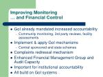 improving monitoring and financial control