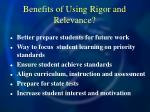 benefits of using rigor and relevance