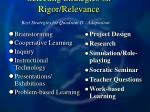 selecting strategies on rigor relevance94