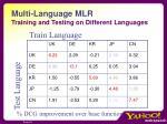 multi language mlr training and testing on different languages