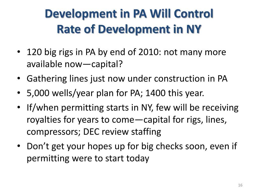 Development in PA Will Control