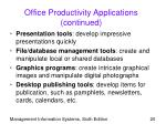 office productivity applications continued