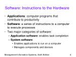software instructions to the hardware