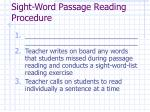 sight word passage reading procedure