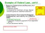 examples of federal laws cont d