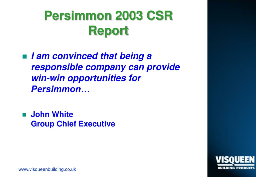 Persimmon 2003 CSR Report