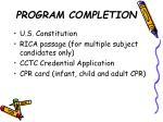 program completion