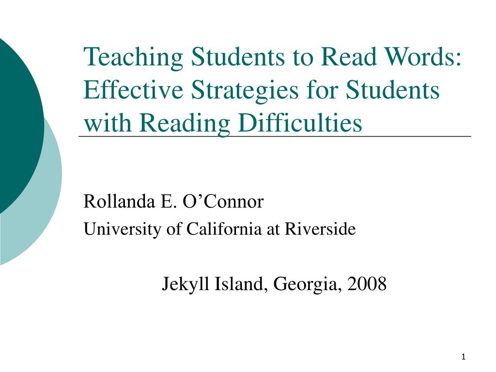 teaching students to read words effective strategies for students with reading difficulties l.