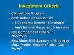 investment criteria