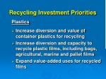 recycling investment priorities10