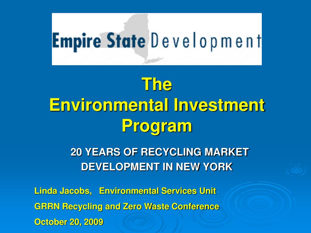 the environmental investment program 20 years of recycling market development in new york l.