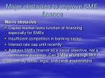 major obstacles to improve sme finance