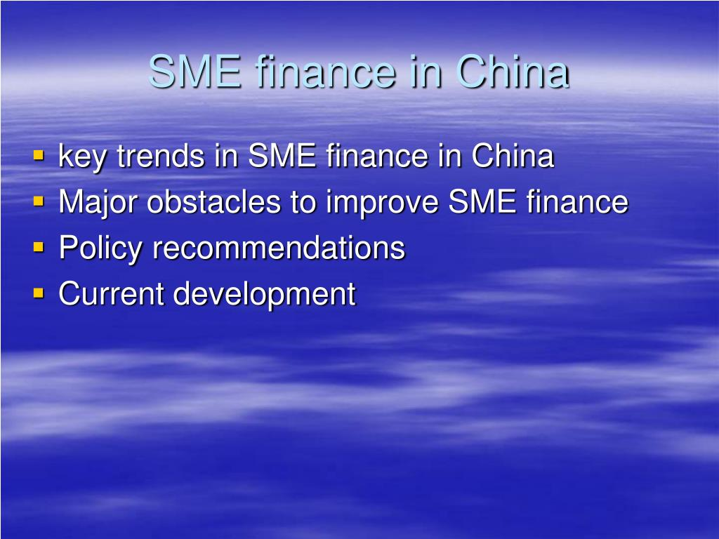 sme finance in china l.