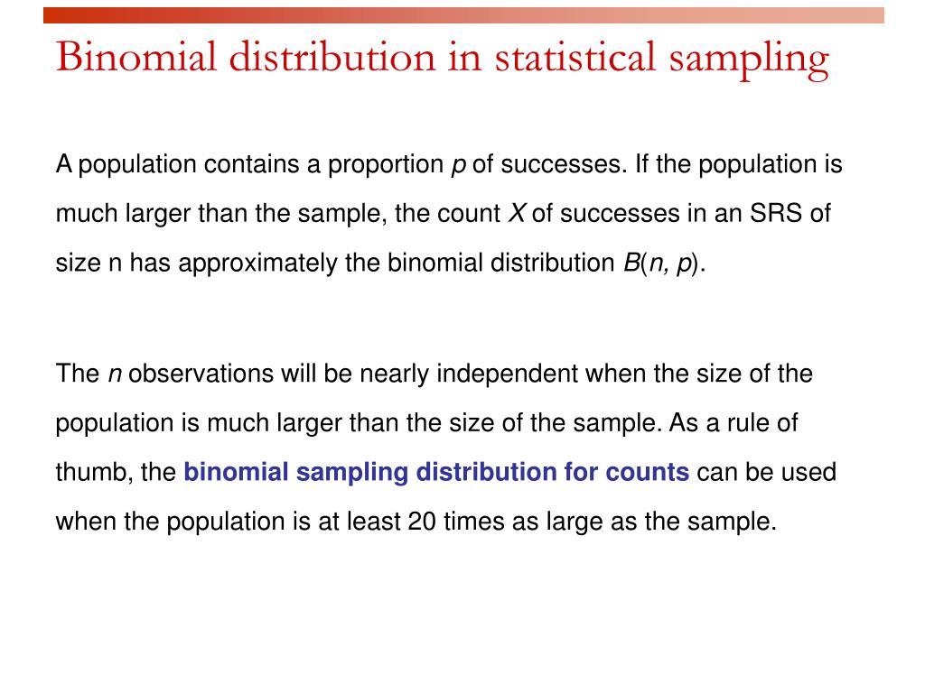 Binomial distribution in statistical sampling