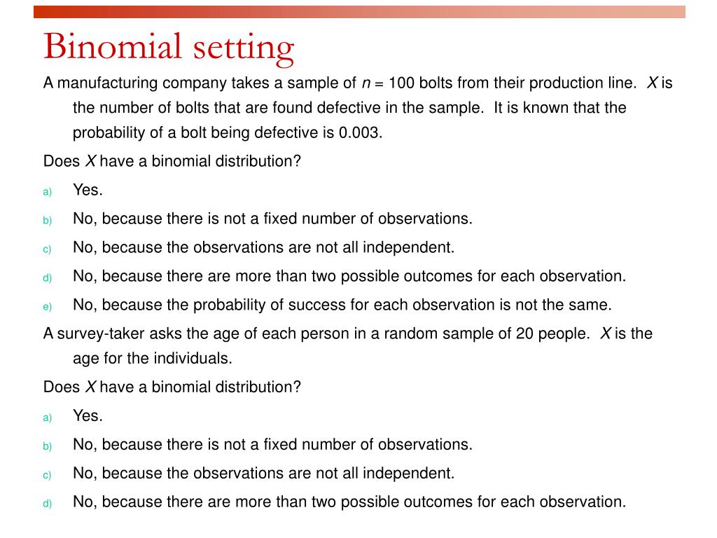 Binomial setting