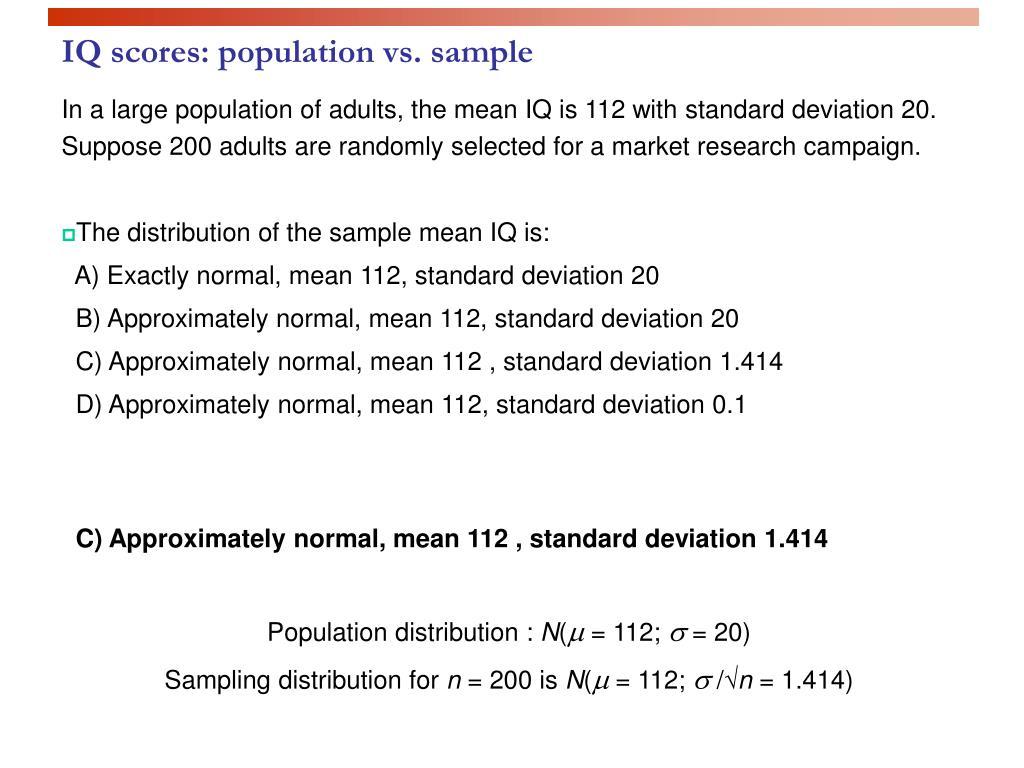 IQ scores: population vs. sample