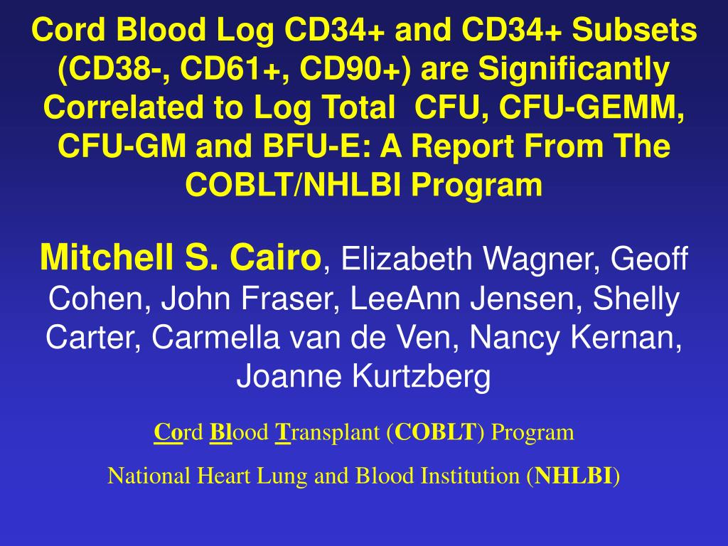 Cord Blood Log CD34+ and CD34+ Subsets (CD38-, CD61+, CD90+) are Significantly  Correlated to Log Total  CFU, CFU-GEMM, CFU-GM and BFU-E: A Report From The COBLT/NHLBI Program