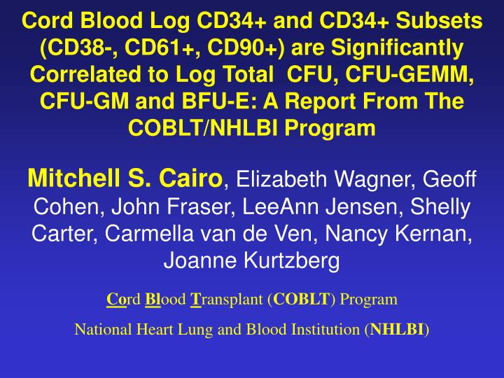 Cord Blood Log CD34+ and CD34+ Subsets (CD38-, CD61+, CD90+) are Significantly  Correlated to Log To...