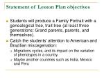 statement of lesson plan objectives