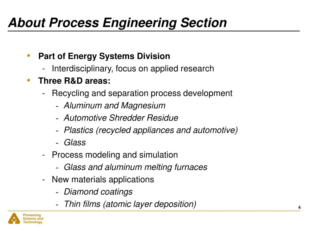 About Process Engineering Section