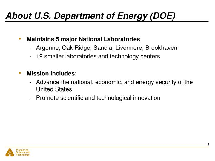 About u s department of energy doe